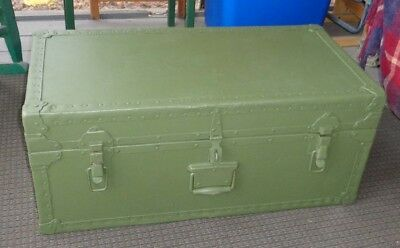 Vintage US Army Military Footlocker & Tray - Late 1940's Trunk