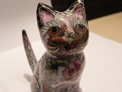 Vintage Finely Detailed Chinese Cloisonne Cat With No Dings Or Losses