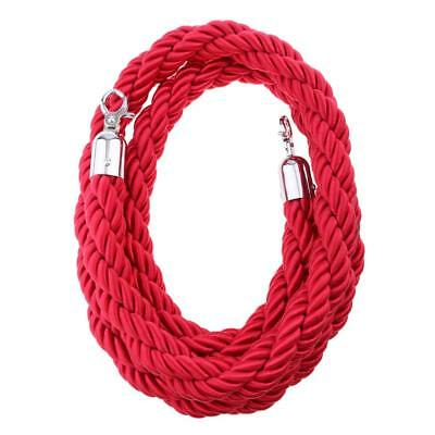 QUEUE BARRIER ROPE TWISTED 3m LONG FOR BARRIER POSTS HIGH QUALITY RED