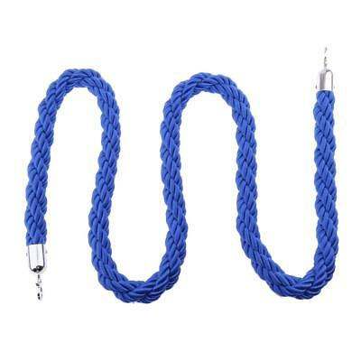 Queue Divider Crowd Control 2m*3.2cm Dia. Twisted Rope with Silver Ends Blue