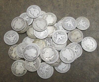 A Roll of 40 Barber Silver Quarters Mixed Dates Good Condition No Reserve