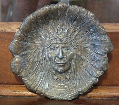 Antique Art Deco Heavy Bronzed Spelter Red Indian Chief Pin Coin Dish