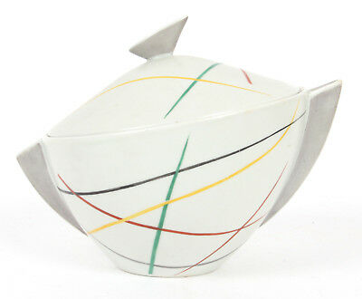 Herend Hungarian Abstract Porcelain Lidded Bowl Modernist Mid Century