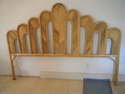 Vintage Mid Century Bamboo Pencil Reed Finger King Size Headboard