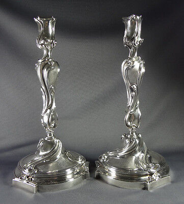 Pair of French A. Risler & Carre Art Nouveau Sterling Candlesticks - Late 19th C
