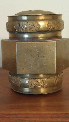 Antique Chinese Brass Tea Caddy Jar With Etchings Repousse Decoration c. 1910