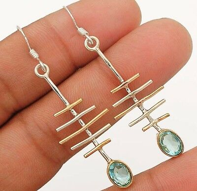 """Two Tone-Aquamarine 925 Solid Sterling Silver Earrings Jewelry 2 1/5"""" Long"""
