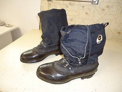 Vintage Used Ski Doo Snowmobile Boots, Size 8 Dated 1967