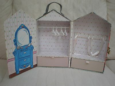 """Madeline 8"""" Doll Carrying Case With 2 Drawers Clothes Pole 4 Hangars Excellent!"""