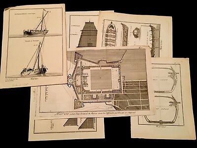 LOT OF NAVAL ENGRAVINGS ARSENAL CANNONS BLUEPRINTS 1700s