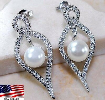 2CT French Pearl & Topaz 925 Solid Genuine Sterling Silver Earrings Jewelry