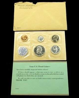 Small Date 1960 US Mint Silver Proof Set Flat Pack w/ COA & Envelope 5 Coins UNC