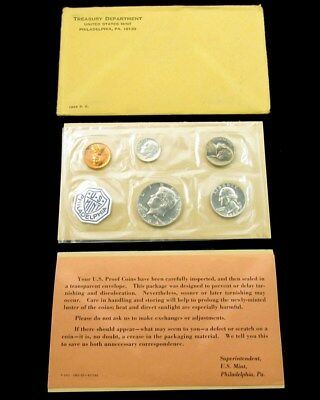 1964 US Mint Silver Proof Set Flat Pack w/ COA & Envelope - 5 Coins Uncirculated