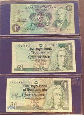 Scotland 3 x 1 Pound Notes all different