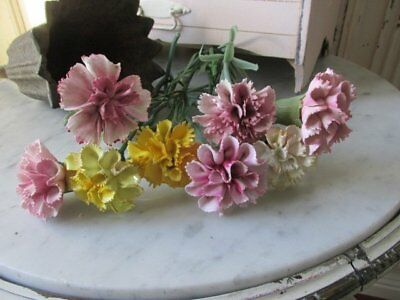 8 GORGEOUS Old Vintage PORCELAIN FLOWERS CARNATIONS White Pink Yellow
