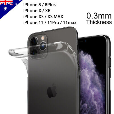 iPhone 11 Pro XS MAX XR 8 Plus Case Ultra Slim Silicone Clear Cover for Apple