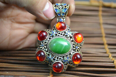Collectible Old Carve green jade Tibetan silver inlaid red bead Noble Pendant