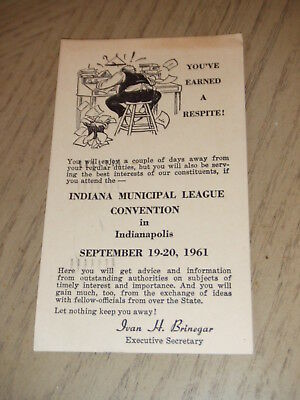 RARE 1961 Indiana Municipal League Convention Postcard Indianapolis Vogelsang IN
