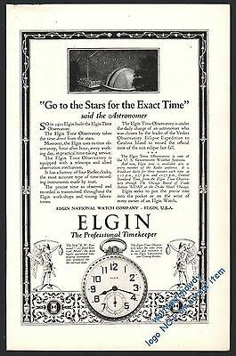 1924 ELGIN BW Raymond Pocket Watch PRINT AD Old Antique ADVERTISING