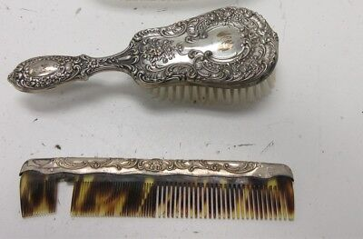 Vintage Sterling Silver Hairbrush and Comb