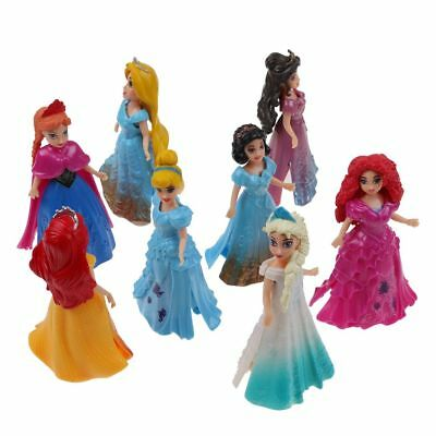 8pcs Disney Princess Action Figures Changed Dress Doll Kids Boys Girls Toys Gift