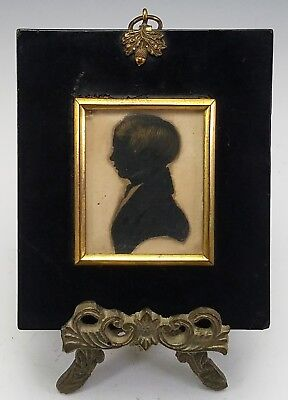 ANTIQUE EARLY 19th CENTURY FOLK-ART MINIATURE PORTRAIT SILHOUETTE PAINTING - BOY