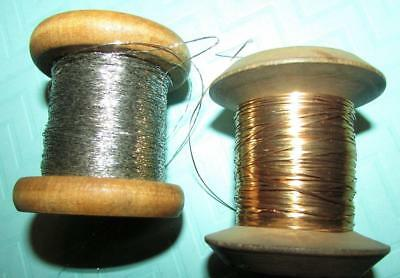2 Antique Wooden Spools / Flat Gold & 3-Ply Silver Thread