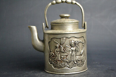 China Culture Style Old Tibet Silver Fairy Theme Decor Exquisite Teapot handwork