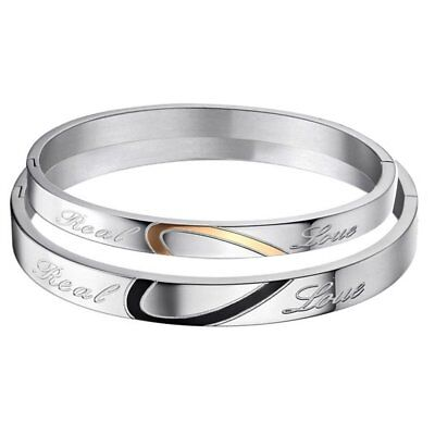 "His or Hers Matching Heart Stainless Steel "" Real Love"" Promise Couple Bracelet"