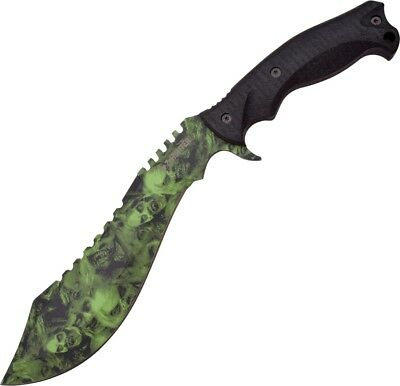 Z-Hunter--Kukri Machete Green Skull