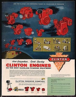 1957 CLINTON Machine Co. Gasoline Powered Equipment Engines Vintage AD