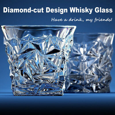 Diamond-cut Design Whisky Glass Scotch Whiskey Drinking Tumbler Rum Wine Cup