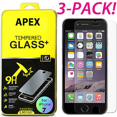 3-PACK Premium Real Screen Protector Tempered Glass Film For iPhone X 6 7 8 Plus