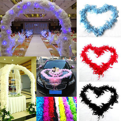 New 2M Fluffy Feather Boa Scarf Cabaret Costume Dressup Wedding Party Home Decor