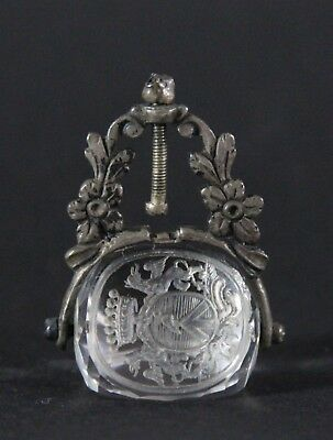 antique 18th C. wax, Swivel Seal Fob, silver & rock crystal & noble coat of arms