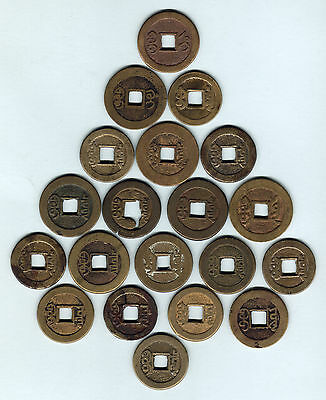 China. Assortment of various Bronze CASH Coins x 20 pces.. c1750s-1830s. VG-VF