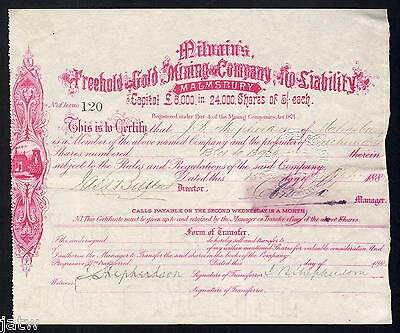 Share Scrip - Gold Mining. 1884 Milvains Freehold Gold Mining Co - Malmsbury