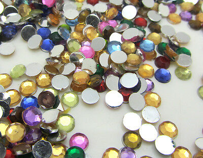 800pcs 4mm Flatback Round Crystal Acrylic  Rhinestones Beads Craft Mixed color
