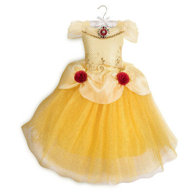 Disney Deluxe Belle Beauty & the Beast Girls Princess Costume  3 4 5/6 7/8 9/10