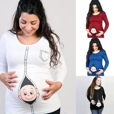 Women Cotton T-shirt Blouse Maternity Cartoon Staring Pregnant Short Casual Tops