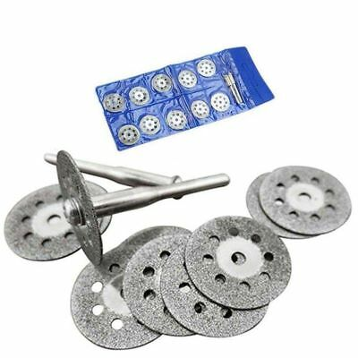 10X Mini Diamond Saw Blade Cutting Disc Rotary Wheel Grinding +2 Mandrel Dremmel