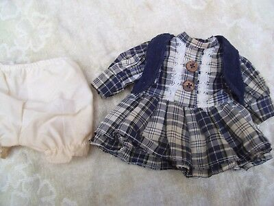 Alte Puppenkleidung VioletWhite Dress Vest Outfit vintage Doll clothes 30cm Girl
