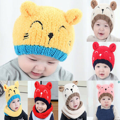 Baby Toddler Newborn Knitted Crochet Beanie Hat Winter Warm Kids Cute Cap Gift