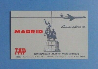 Airline-Issued Card / Timetable / Tap / Effective September 1St, 1962 / Madrid