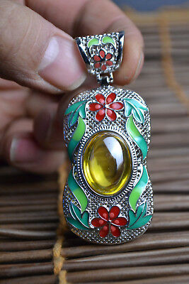 Collectible Old Cloisonne Carve Flower Exquisite yellow Jade handwork Pendant