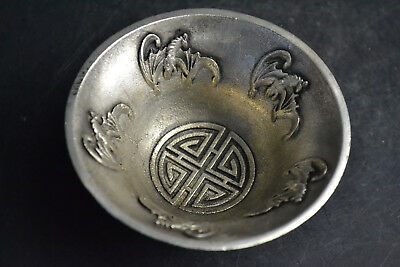 Collectible Vintage tibet silver plate relief bat aquatic plant China big Bowl