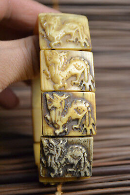 Collectible China carving old chinese dragon elastic art children bracelet