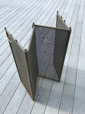 "Antique Vintage 4 Fold Brass Steel Fire place Screen Handles 48"" W x 30"" H"