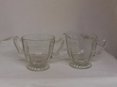 Antique clear pressed glass vintage creamer pitcher and sugar bowl set
