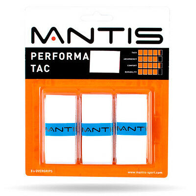 3 Mantis Performa Tac Grips/Overgrips - White - Free P&P